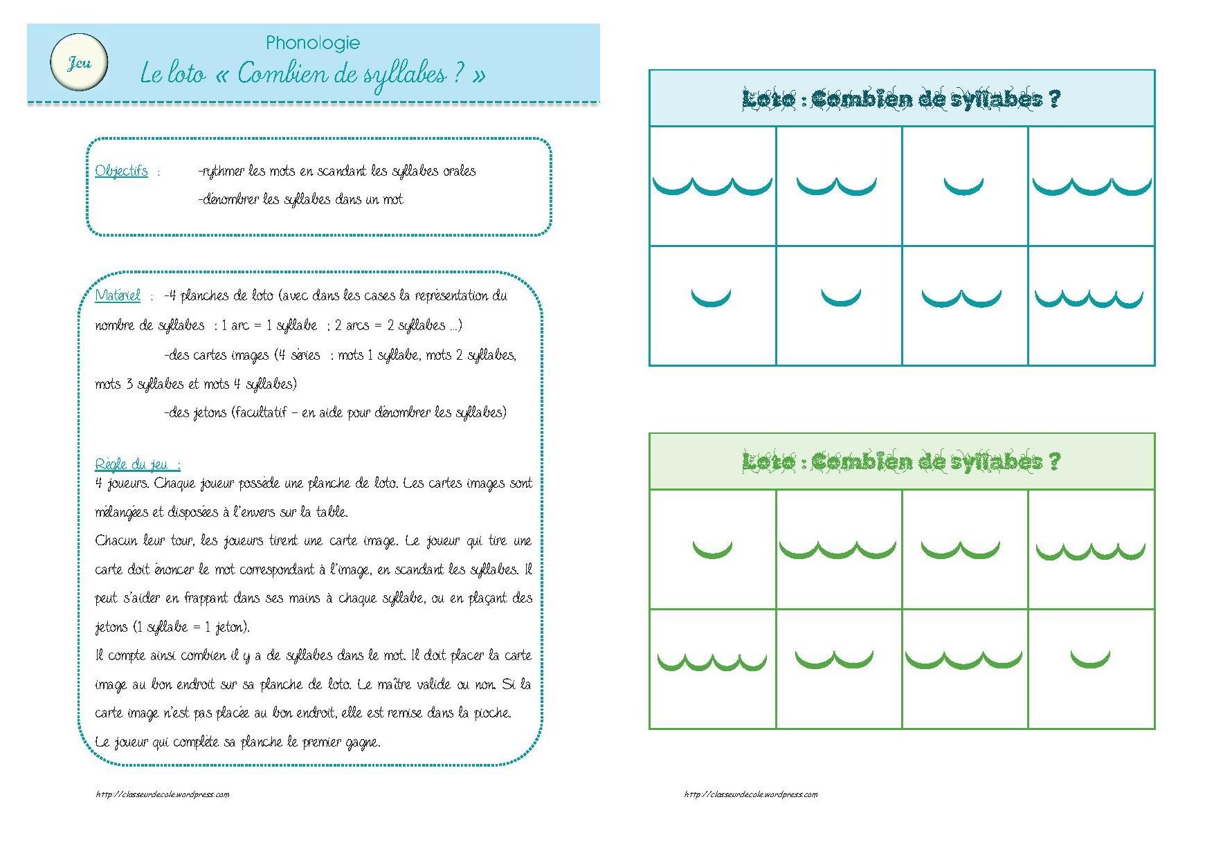 Jeux phono d nombrer les syllabes - Couper les mots en syllabes ...