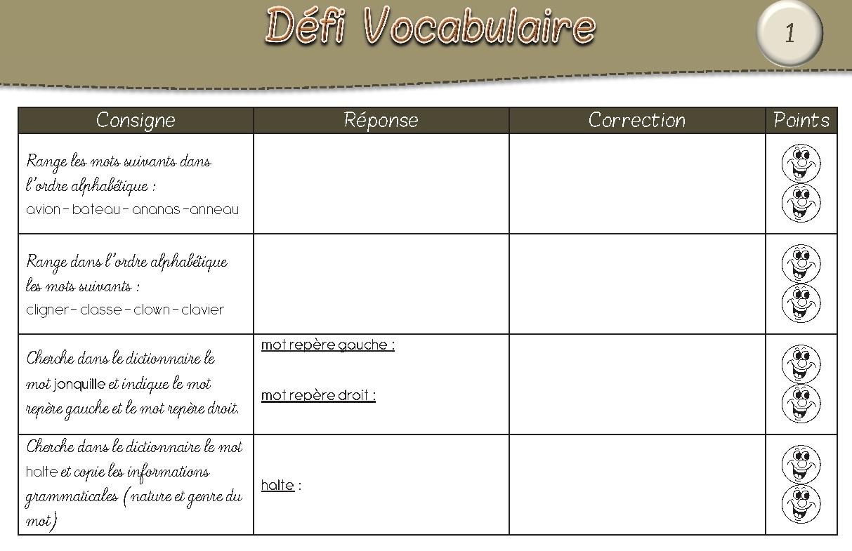 Favori Défi Vocabulaire CE2 AA16
