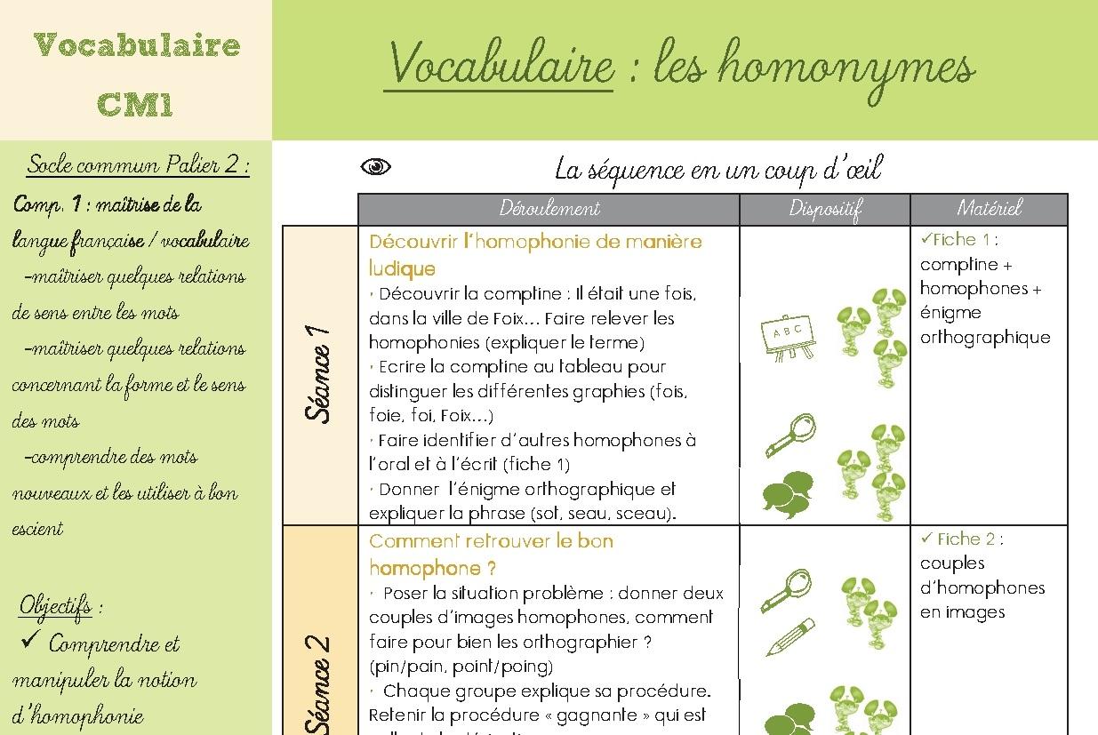 Fiche exercice vocabulaire cm1