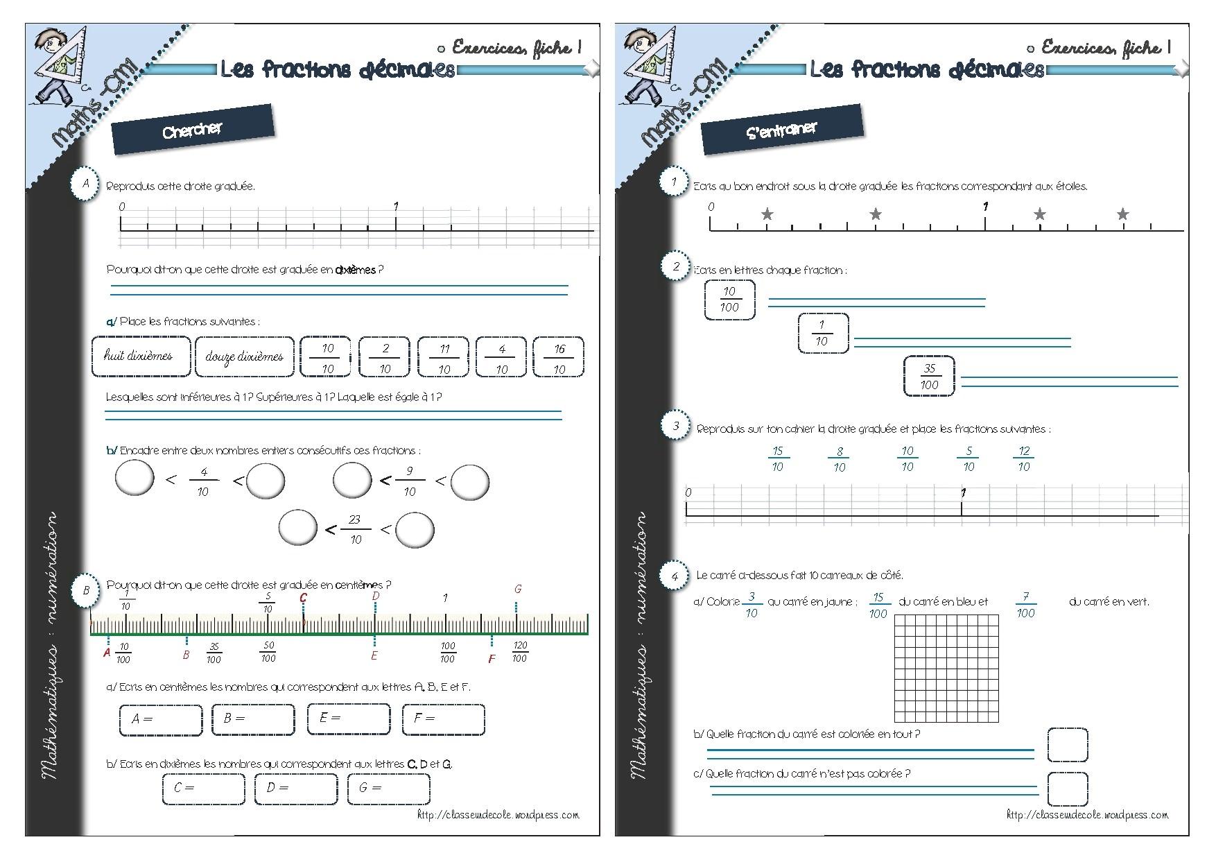 Fiche d 39 exercices cm1 - Fraction cm1 a imprimer ...