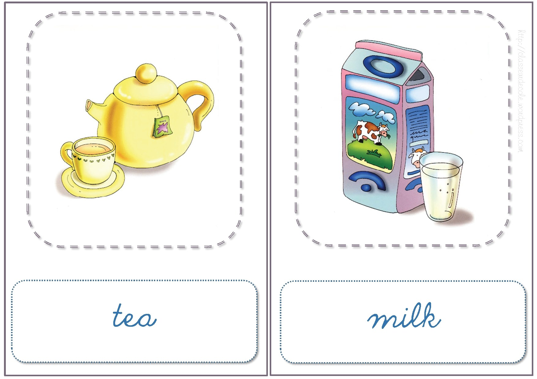 Connu Anglais -Flashcards FOOD and DRINK VJ13