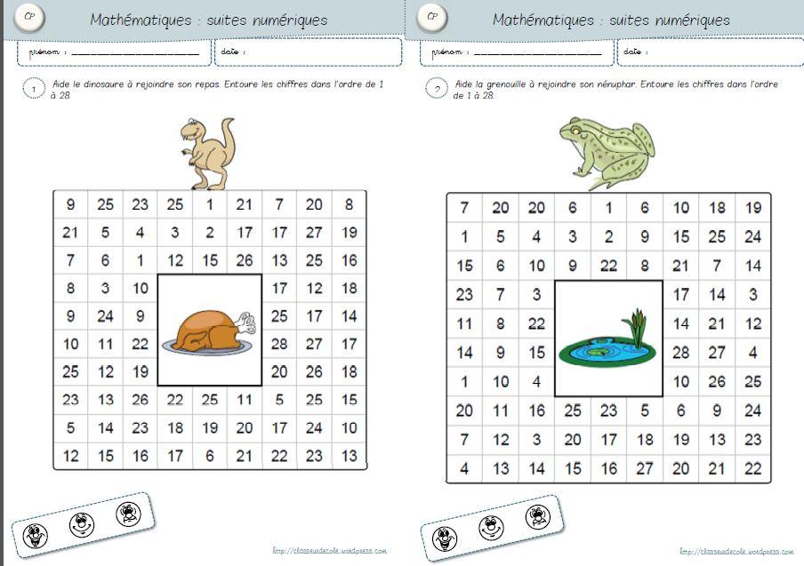Maths Cp Suites Numeriques Autonomie Classeur Zil