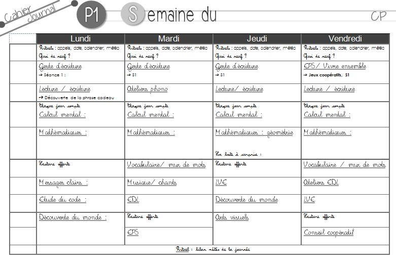Extrem Emploi du temps (provisoire) période 1 + trame cahier journal GU13