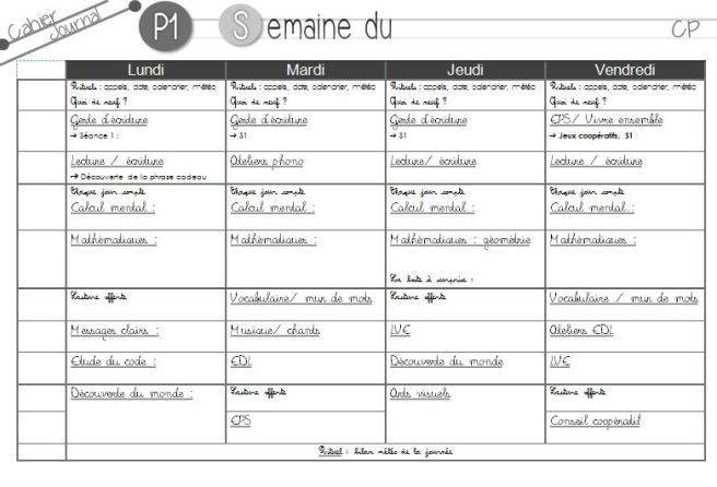cahier journal trame